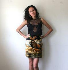 Velvet Elk Tapestry Skirt / Pencil Skirt With Exposed by rustycuts