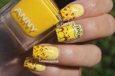 Yellow nails with Pikachu Yellow Nails Design, Yellow Nail Art, Love Nails, How To Do Nails, Pretty Nails, Kawaii Nail Art, Cute Nail Art, Minimalist Nails, Pikachu Nails