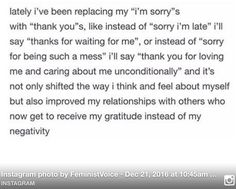 "Shifting ""I'm sorry"" to Thank you."""