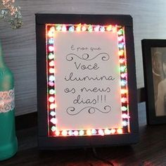 """Box / lamp """"You brighten my days"""" - Famous Last Words Diy Tumblr, Diy Gifts For Girlfriend, Boyfriend Gifts, Simple Gifts, Love Gifts, Easy Crafts, Diy And Crafts, Romantic Candles, Ideias Diy"""