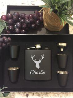 Deer Hunter Flask Gift Set with 4 Shot Glasses & Funnel