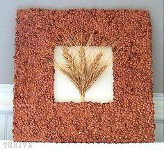 scrap made cardboard frames with lentils