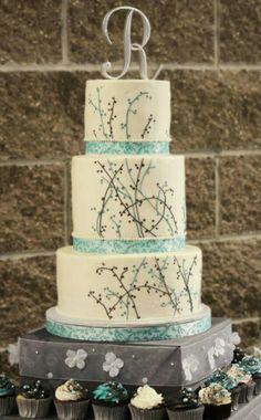 Tiffany blue and gray wedding cake