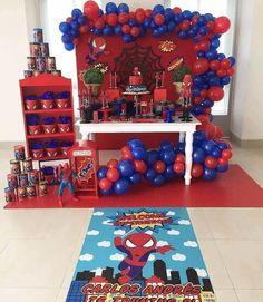 32 Ideias de Decoração Festa Infantil Homem-Aranha #homemaranha #festainfantil Superhero Birthday Party, 3rd Birthday Parties, Birthday Balloons, Birthday Party Decorations, Party Themes, Man Birthday, Spiderman Theme Party, Baby Spiderman, Superman Party