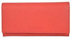 Women's Coral Red Leather Trademark Logo Continental Wallet