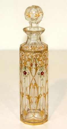 Antique French Enameled Clear Baccarat Glass Perfume Bottle - ca. 1890 - 1920
