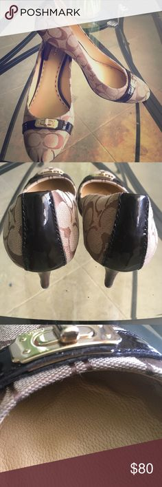 Signature Coach Pumps Gently worn and in great condition-patent leather detail and decorative buckle on toe-footprint indents inside shoe (see pic) one loose thread in back of right shoe (hardly noticeable) Coach Shoes Heels