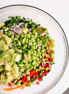 Chopped Kale Salad with Edamame, Carrot and Avocado. Looks delish, you need to click on the pic twice to get to the recipe.