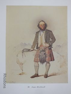 Scottish Clansman Print By Kenneth Macleay RSA - Angus MacDonell. Good Vintage Colour Bookplate Print of the Century Scottish Clans. Vintage Colors, Vintage Prints, Retro Vintage, Caricatures, Scottish Clans, Decoration, Art For Sale, 19th Century, Dekoration