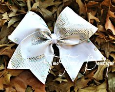 """White tick tock Cheer bow with silver chevron on 3 """" ribbon with AB crystals by Two Tiara's Bowtique on Etsy or Facebook group. Team discounts are always available.  All Star Cheer, Dance"""