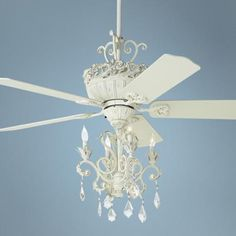 "Love this for my bedroom!   52"" Casa Chic Antique White Chandelier Ceiling Fan - #12277-4G156 