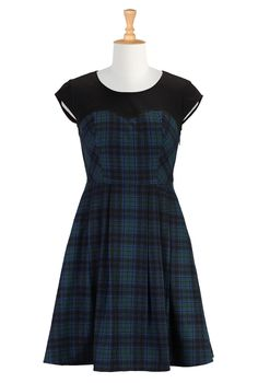 Wool Blend Plaid Dresses, Plaid Christmas Dresses Womens Full sleeve dresses - Shop for Empire dresses - Custom sized and styled to suit you...