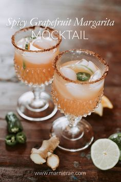 This spicy grapefruit margarita soft cocktail is a fun twist on the original. Made with jalepeno ginger orange lime grapefruit and adobe chili salt for the rim this might just be the best margarita you've ever had. Easy Mocktails, Easy Mocktail Recipes, Non Alcoholic Cocktails, Summer Drink Recipes, Spicy Recipes, Summer Drinks, Cocktail Recipes, Refreshing Drinks, Margarita Ingredients