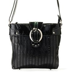 703-983 - Madi Claire ''Chloe'' Croco Embossed Leather Stripes Messenger Bag