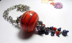 Pendant. Beaded Jewelry Handmade Lampwork Pendant . Purple, orange,grey.  Hand crafted lampwork beads. Length 70.0 cm. + 13,0см Pendant - hollow