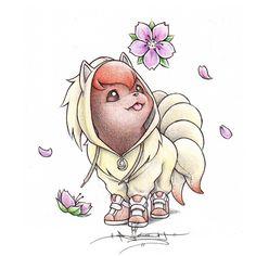 Vulpix wearing a Ninetails Onsie by BirdychuArt.deviantart.com on @deviantART