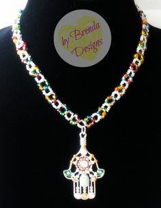 $15.00 + FREE SHIPPING .. Beaded Necklace with Hamsa Hand Pendant