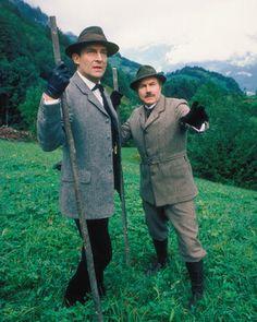 Jeremy Brett as Sherlock Holmes, David Burke as Dr. John Watson from The Adventures of Sherlock Holmes