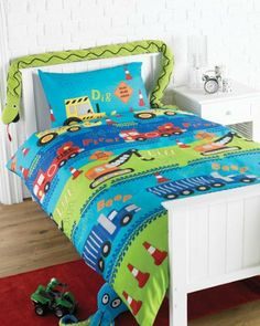 Road Works Ahead Diggers Green Blue Kids Childrens Boys Single Bed Size Duvet Cover Quilt Set by Sold By Hallways, http://www.amazon.co.uk/dp/B008DD5HP4/ref=cm_sw_r_pi_dp_7.uBrb1KYV1ZH