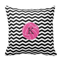 Shop Monogram Pink Volleyball Chevron Print Pillow created by stripedhope. Personalize it with photos & text or purchase as is! Monogram Pillows, Custom Pillows, Decorative Throw Pillows, Volleyball Room, Volleyball Gifts, Chevron Pattern Background, Pillos, Black Chevron, Girls Be Like