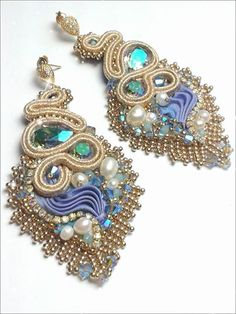 Samsara earrings Soutache, shibori silk, swarovski elements, miyuki beads Eliana Maniero Jewels 2014