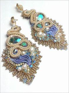 Samsara earrings Soutache, shibori silk, swarovski elements, miyuki beads Eliana Maniero Jewels 2014