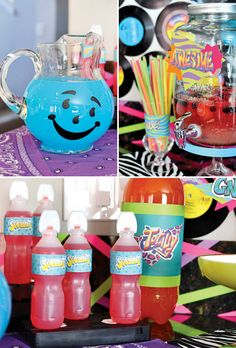 Born in the Neon Birthday Party neon birthday party drinks like squeezit and kool-aid 90 Party, 2000s Party, Party Fiesta, Eighties Party, Retro Party, House Party, Birthday Party Drinks, 80s Birthday Parties, Neon Birthday