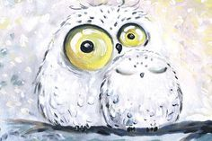 happy owl by bemain on DeviantArt Spotted Owl, Owl Artwork, Happy Owl, Owl Canvas, Baby Drawing, Tattoos For Daughters, Snowy Owl, Baby Owls, Green Art