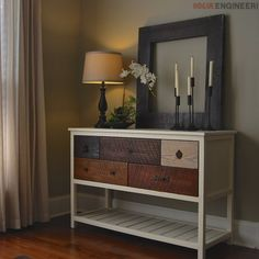 DIY Reclaimed Wood Console Table. Build your own reclaimed wood console table using these simple step-by-step instructions!