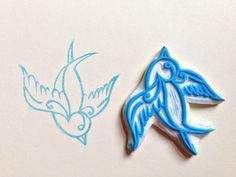 Tattoo Swallow handmade rubber stamp on Etsy, £10.00 love the bird