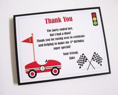 Race Car Thank You Cards for Boys Birthday Party.  This set of cute Race Car…