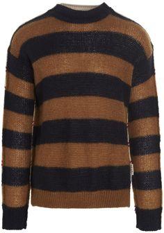 Marni Sweater Side Split, Black Sweaters, Marni, Hemline, Knitwear, Contrast, Crew Neck, Men Sweater, Pullover