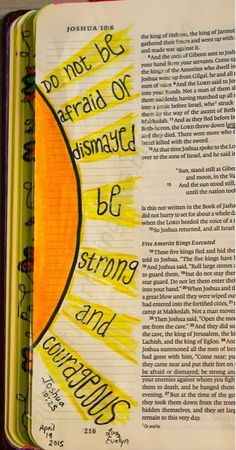 Easy Bible Art Journaling Journey: Joshua reminds us to not be afraid or dismayed but to be strong and courageous! Bible Study Journal, Scripture Study, Bible Art, Art Journaling, Prayer Journals, Bible Drawing, Bible Doodling, Bible Verses Quotes, Bible Scriptures