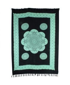 LOUDelephant Flower Mandala with Border Print Viscose Rayon Sarong - Black & Green