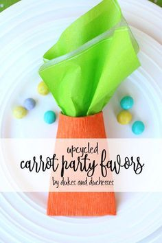 upcycled carrot party favors for easter made from toilet paper rolls