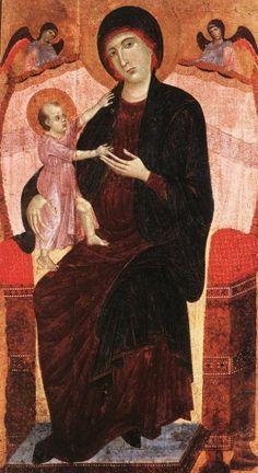 """Duccio, di Buoninsegna (1255-1319)  Gualino Madonna  Date: 1285      Movement: Renaissance (Early Italian, """"Trecento"""")"""