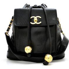 Large Black Lambskin Vintage Chanel Drawstring Shoulder Bag