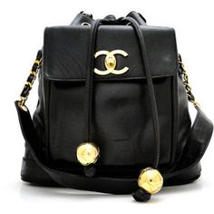 Classic #Chanel: Large Black Lambskin #Vintage Drawstring Shoulder Bag