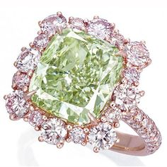 A 6.13-carat fancy intense green diamond set a new auction record Tuesday when it sold at Christie's Hong Kong for $3.6 million, or $594,510 per carat. Green diamonds are among the rarest of all colored diamonds. See other magnificent items from the sale at our daily blog. http://nordjewelers.thejewelerblog.com
