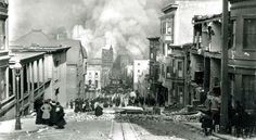 Looking Down Sacramento Street San Francisco April 18th 1906. It is the most famous photograph of the devastation caused by the great fire and earthquake.