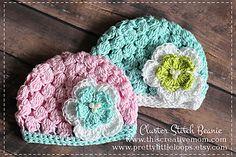 cluster stitch beanie 0-3 months