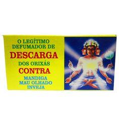 http://www.maniasemanias.com/produto/defumador-descarga-dos-orixas - DEFUMADOR – DESCARGA DOS ORIXÁS - Os defumadores funcionam através do odor e fumo que se desprendem durante a sua queima, propiciando  a energia a que cada um se destina. - Função: Contra mau olhado, mandiga, inveja. - Embalagem: caixa contendo 14 cones