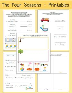 FREE worksheets. Four Seasons Worksheets: Free Printables.  These worksheets would be perfect for Kindergartners/1st Graders learning about the different seasons of the year.  Use these when doing Time in the morning or for a small unit study.  Includes:  season sorting, which season activity, beach ball and snowman measurement, fill in the blank, and drawing activity.  Download at:  http://thehappyhousewife.com/homeschool/four-seasons-worksheets-free-printables/