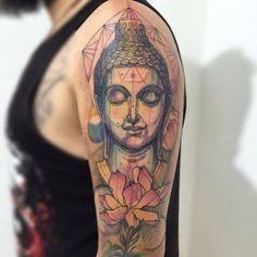 … Budist Tattoo, Calf Tattoo, Hand Tattoos, Sleeve Tattoos, Body Art Tattoos, Lotus Tattoo, Tatoos, Buddha Tattoo Design, Buddha Tattoos