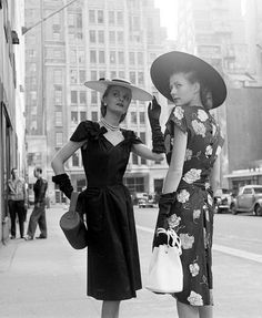 hoodoothatvoodoo:  Models in cotton summer dresses, photo by Nina Leen, New York, 1948