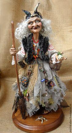 Купить Баба Яга - кукла ручной работы, коллекционная кукла, интерьерная кукла, подарок