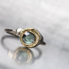 Blue Green Tourmaline Gold Ring Rose Cut Yellow White Spiral - Cosmic Maze by NangijalaJewelry on Etsy https://www.etsy.com/listing/228578631/blue-green-tourmaline-gold-ring-rose-cut