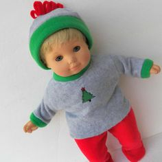 Bitty Baby Boy Clothes Christmas Tree Grey Embroidered Sweatshirt, Hat, Red footed polar Fleece Pants 3pc Winter Outfit Christmas
