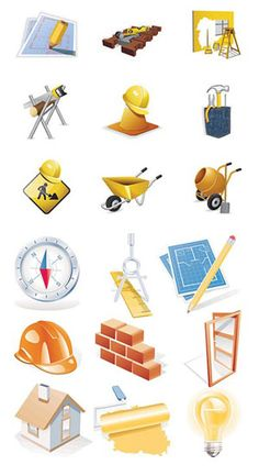Construction Theme Clip Art   Construction site theme icon vector material - Icon