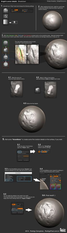 Zbrush: Metal/worn surface technique